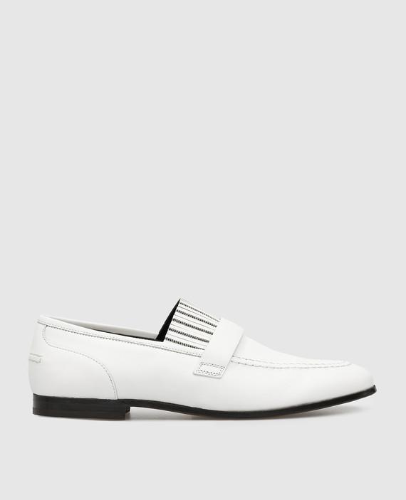 Белые кожаные лоферы