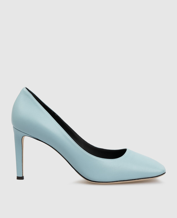 Голубые кожаные туфли