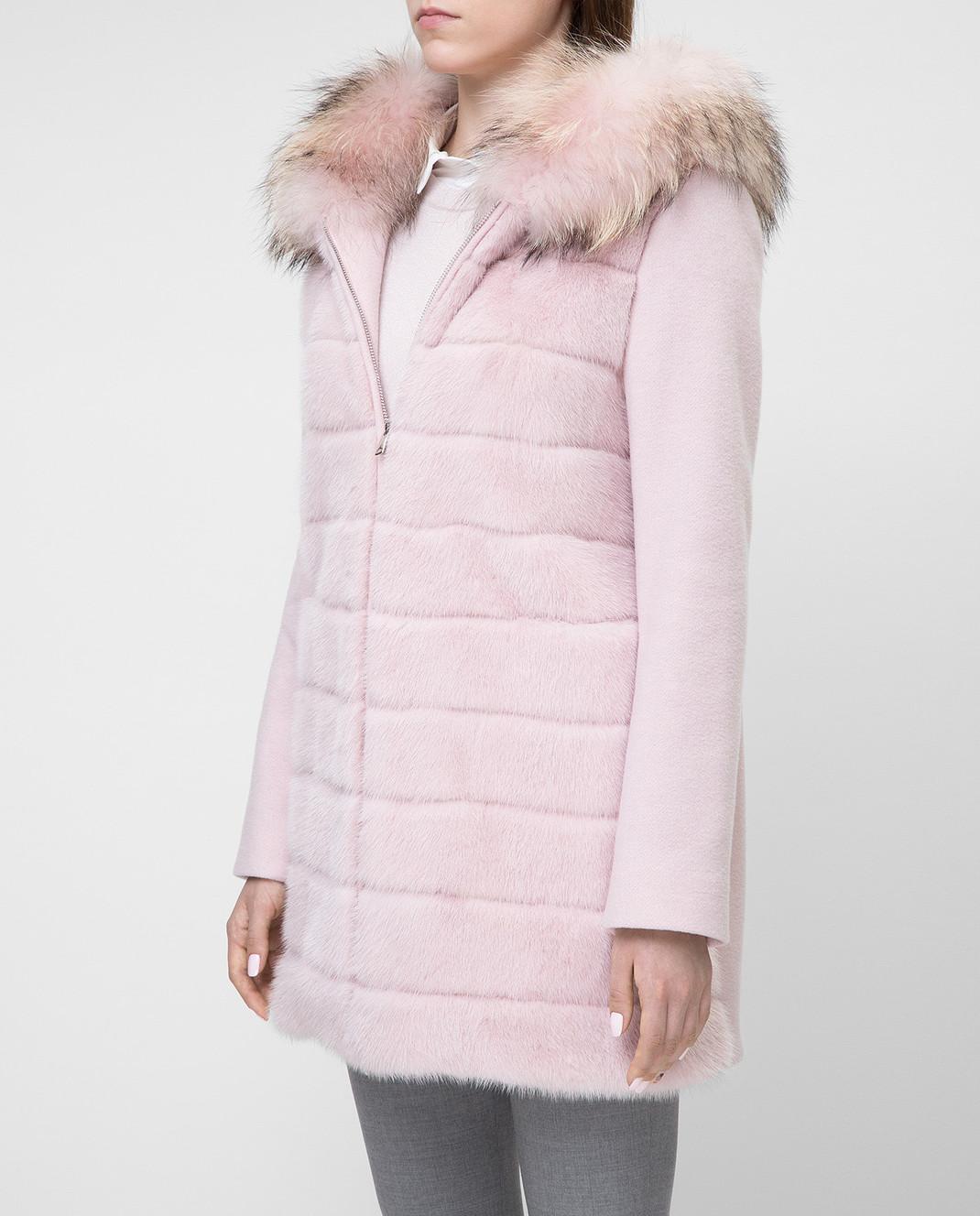 Real Furs House Розовое пальто с мехом енота 922RFH изображение 3