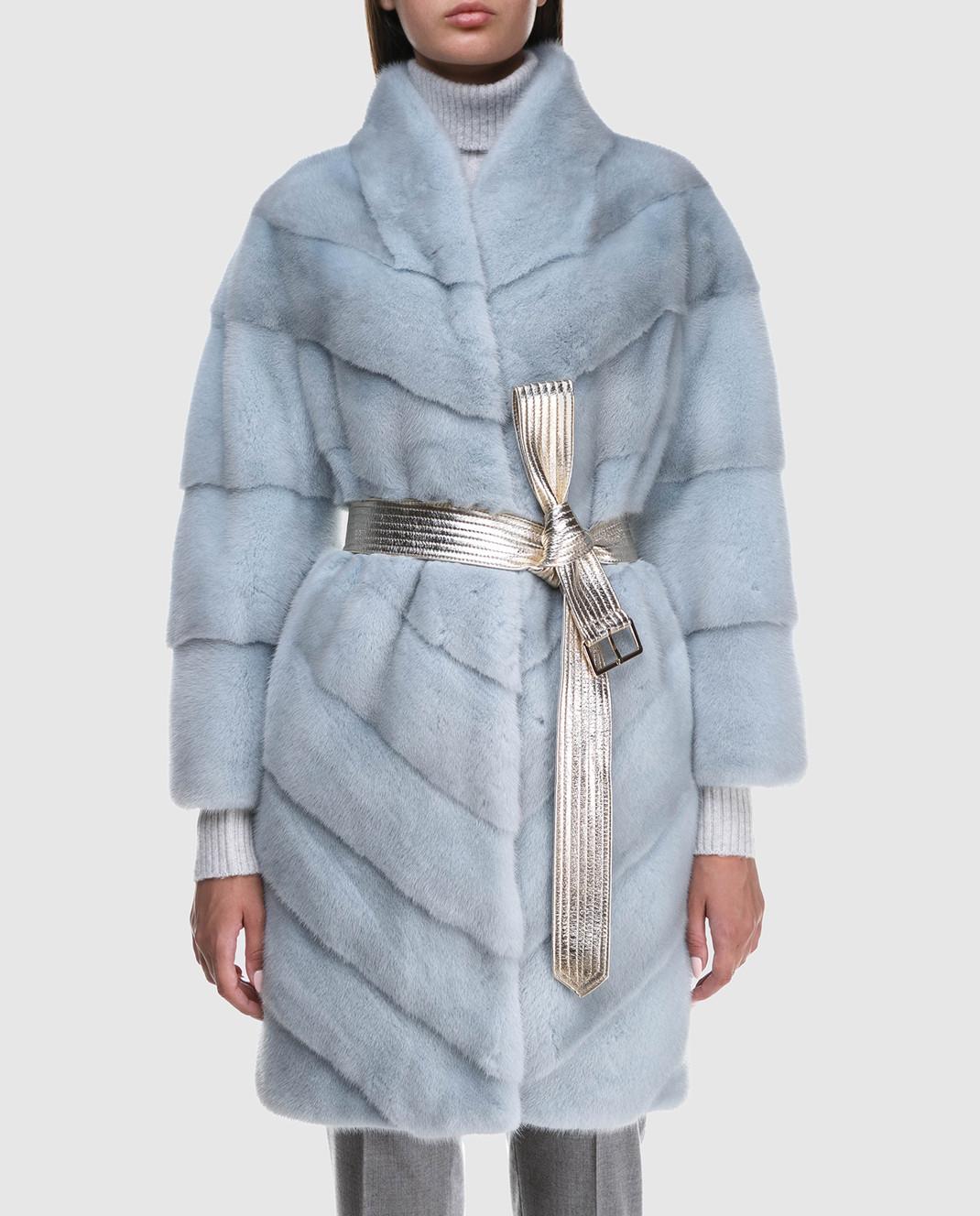 Florence Mode Светло-голубая шуба из меха норки с поясом 18N139PERLA изображение 3