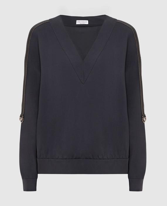 Темно-серая блуза из шелка
