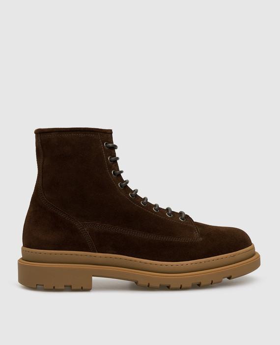 Темно-коричневые замшевые ботинки на меху