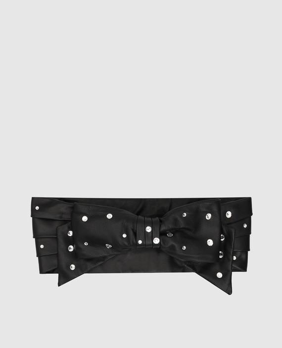 Черный кожаный кушак с кристаллами