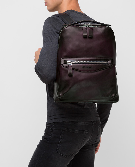 Темно-синий кожаный рюкзак hover