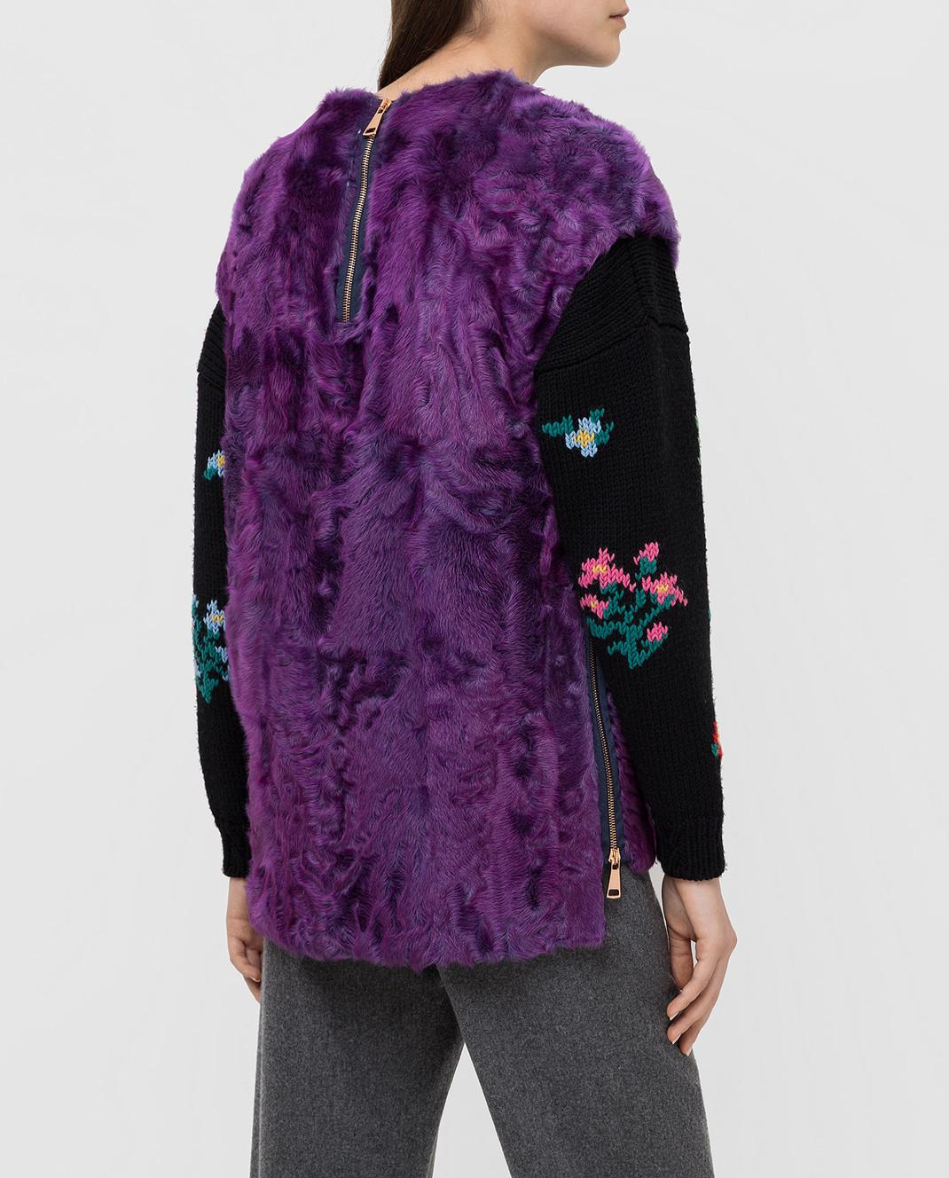 Rindi Фиолетовый меховой жилет 018AG0J4 изображение 4