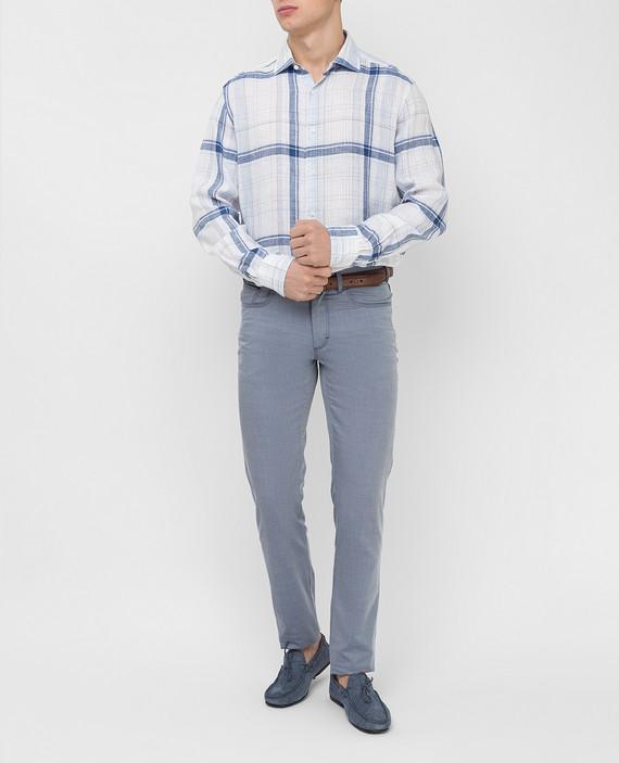 Голубая рубашка из льна hover