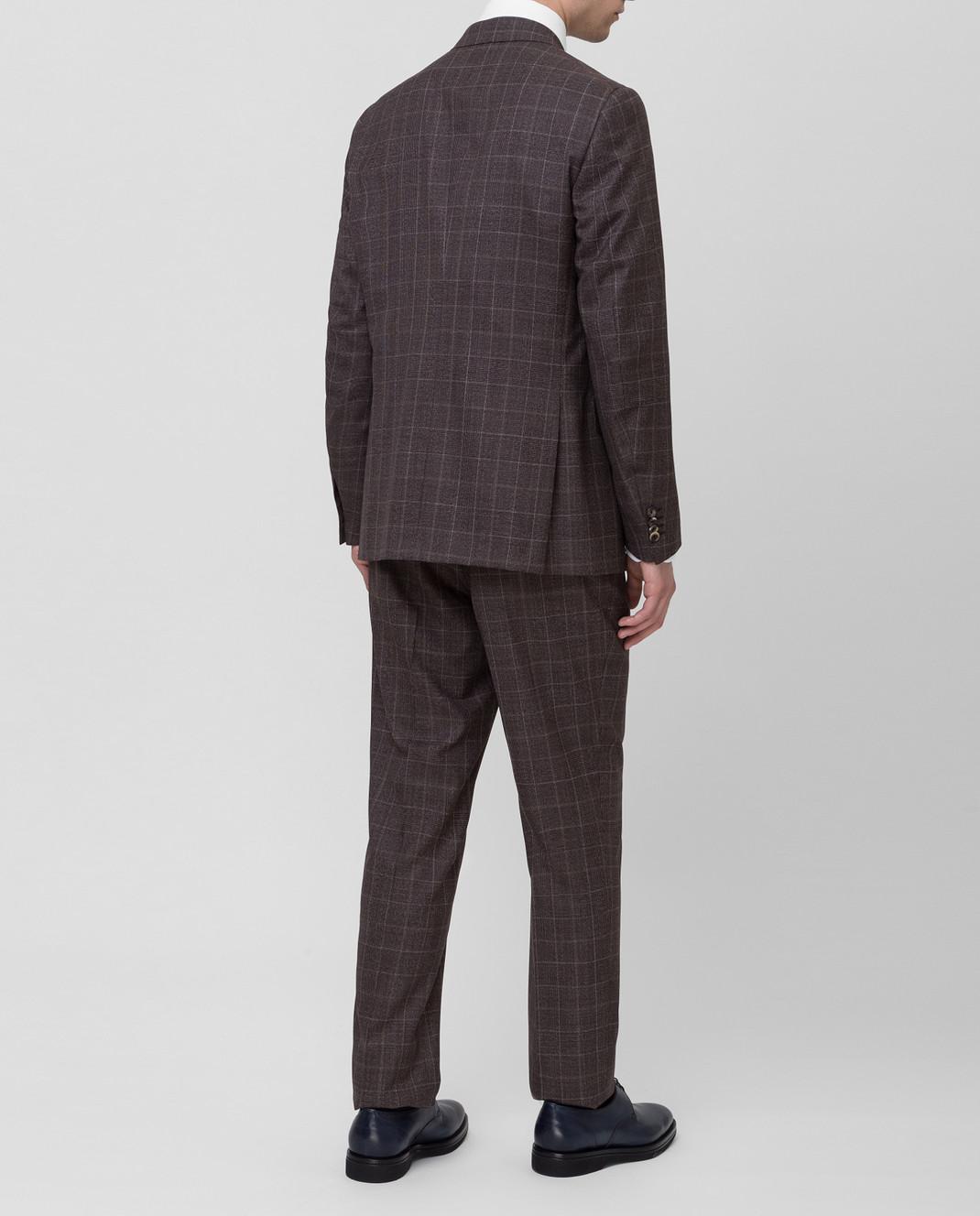 ISAIA Коричневый костюм 224AFI8504X изображение 4
