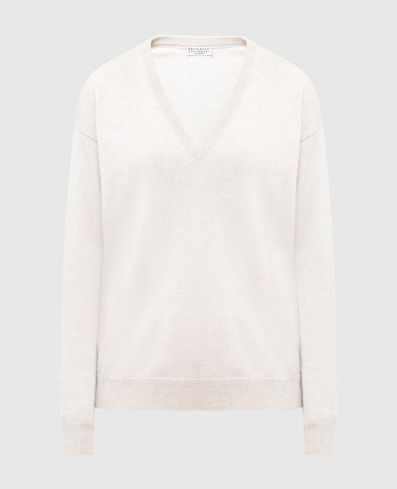 Светло-бежевый пуловер из кашемира