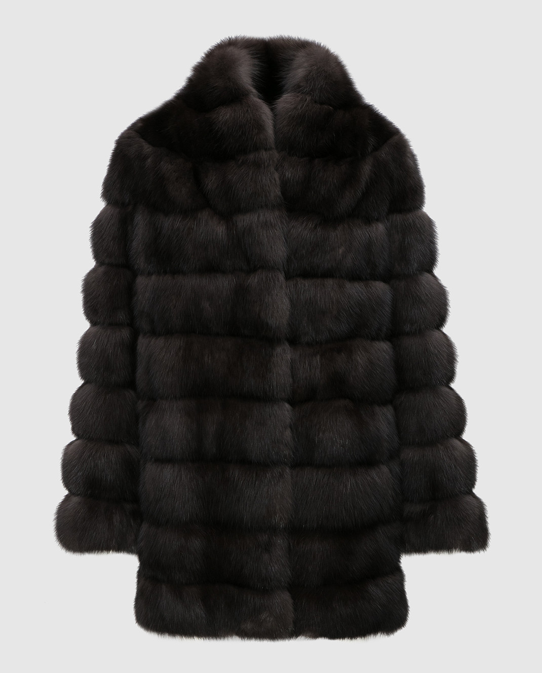 Real Furs House Черное меховое пальто SBR29548DARK
