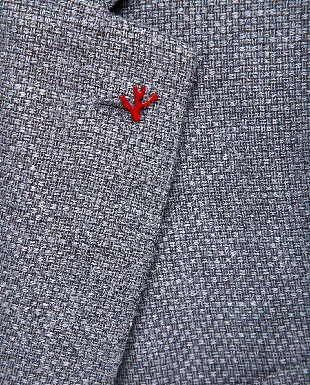 ISAIA Серый блейзер из льна 221GSI84010 изображение 5