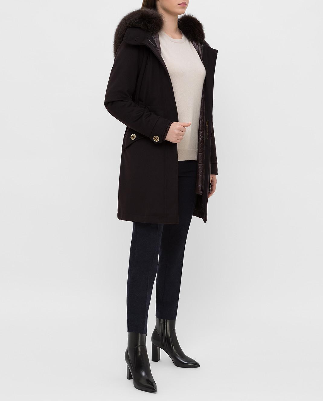 Heresis Темно-коричневое пальто из шерсти P1290VO изображение 2