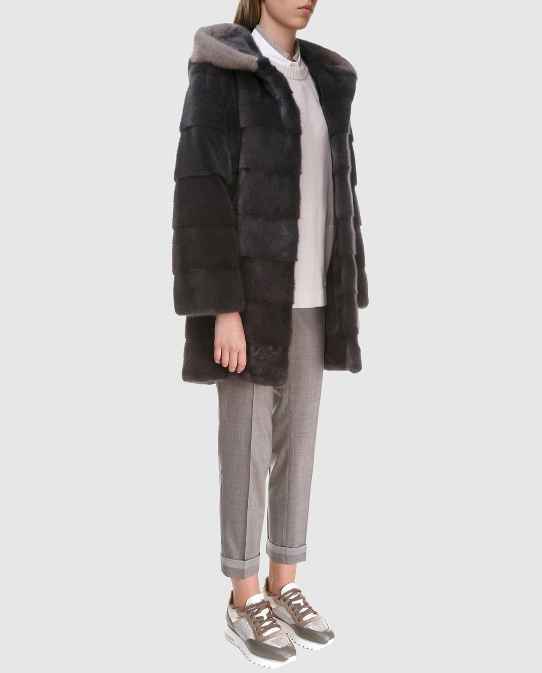Florence Mode Темно-серая шуба из меха норки с поясом L1827SKYFALL изображение 2