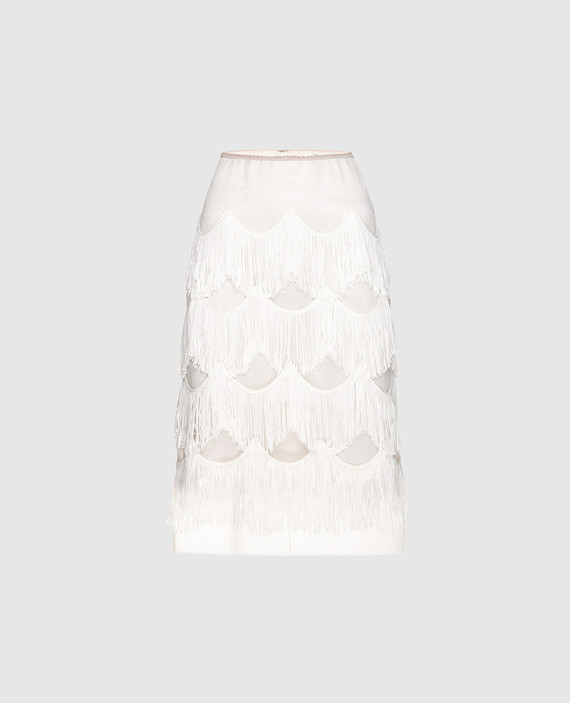 Бежевая юбка с бахромой