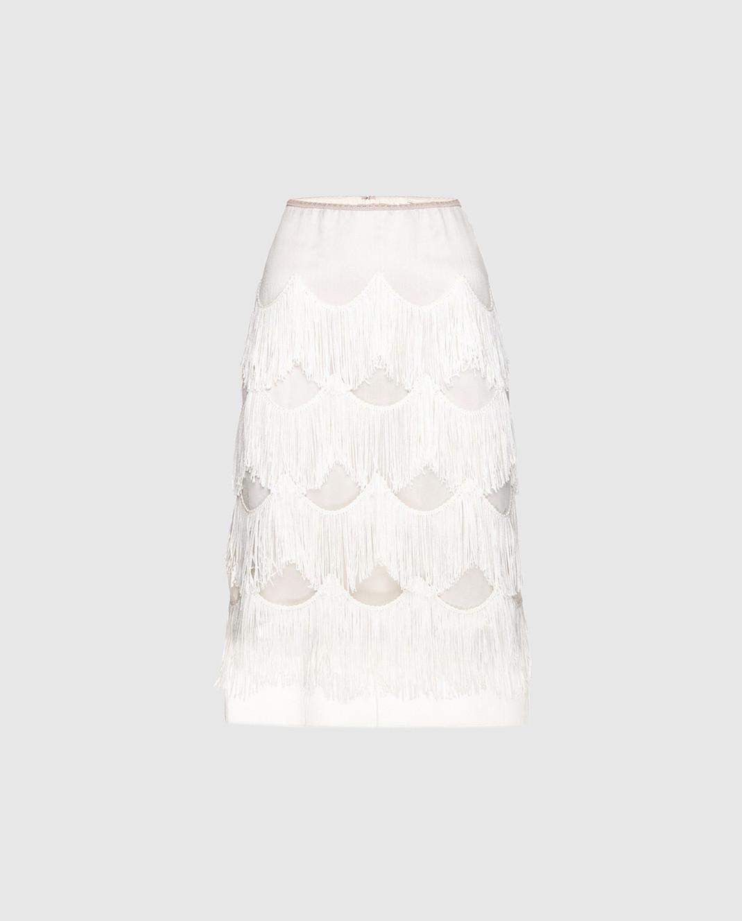 Marc Jacobs Бежевая юбка с бахромой изображение 1