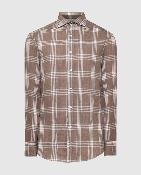 Коричневая рубашка из льна