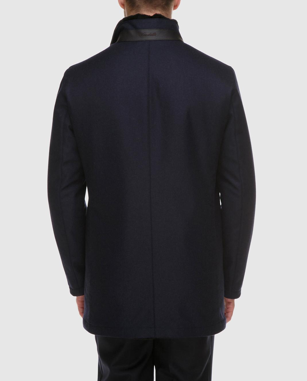 Enrico Mandelli Синяя куртка из шерсти и кашемира на подкладке из меха нутрии A6T762 изображение 4