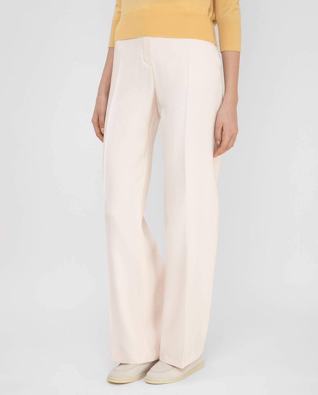 Loro Piana Розовые брюки из шелка и шерсти F1FAI5226 изображение 3