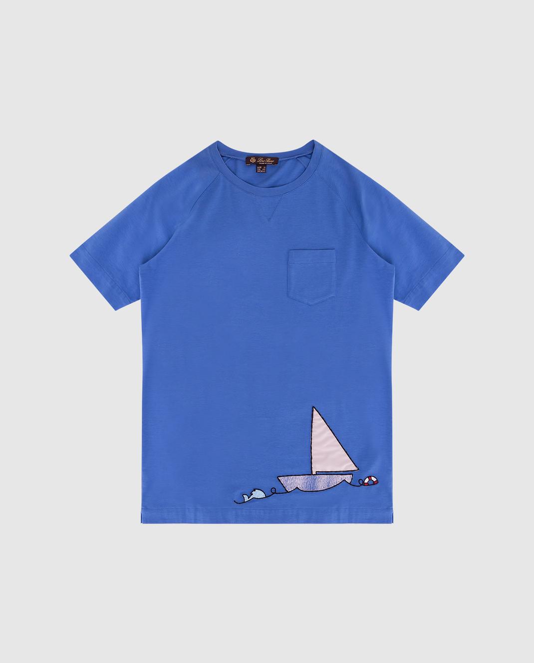 Loro Piana Детская синяя футболка F2FAI0800
