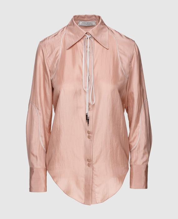 Пудровая блуза из шелка