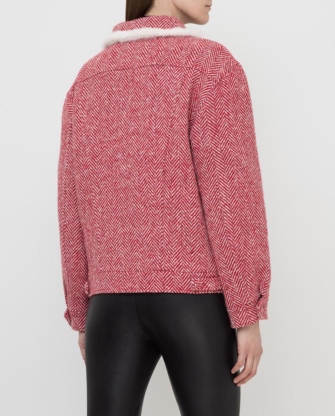 Simonetta Ravizza Красное пальто из шерсти с мехом норки BETH3 изображение 4