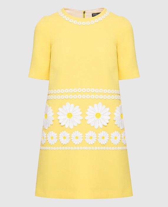 Желтое платье из шерсти