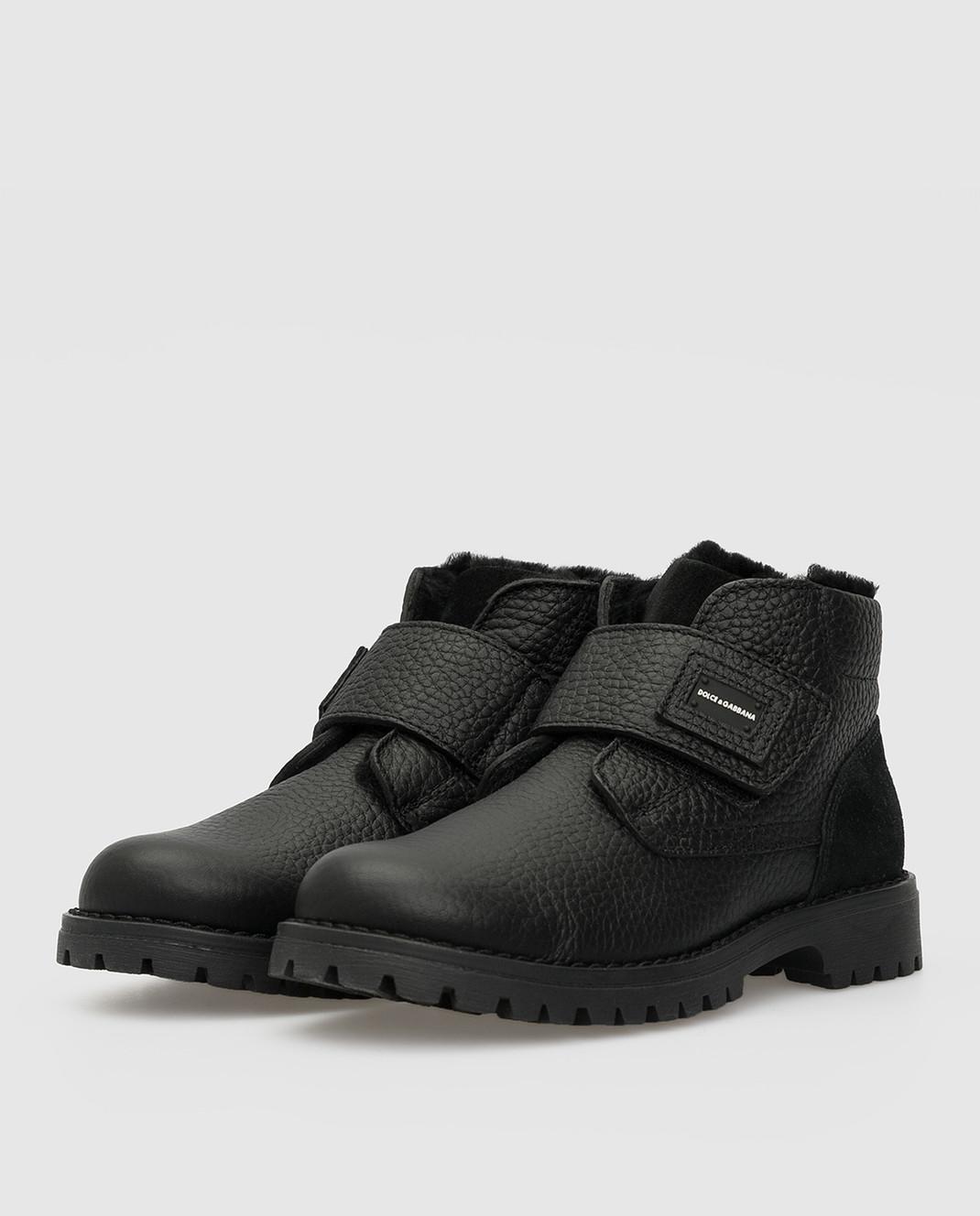 Dolce&Gabbana Детские черные кожаные ботинки на меху изображение 2