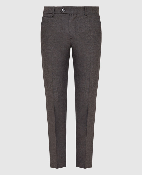 Темно-бежевые брюки из шерсти