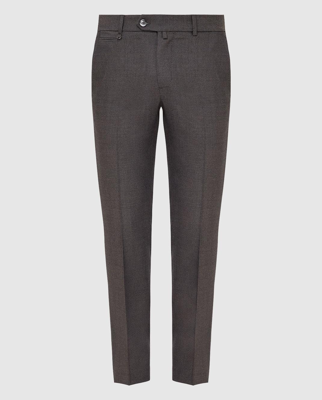 Stefano Ricci Темно-бежевые брюки из шерсти изображение 1