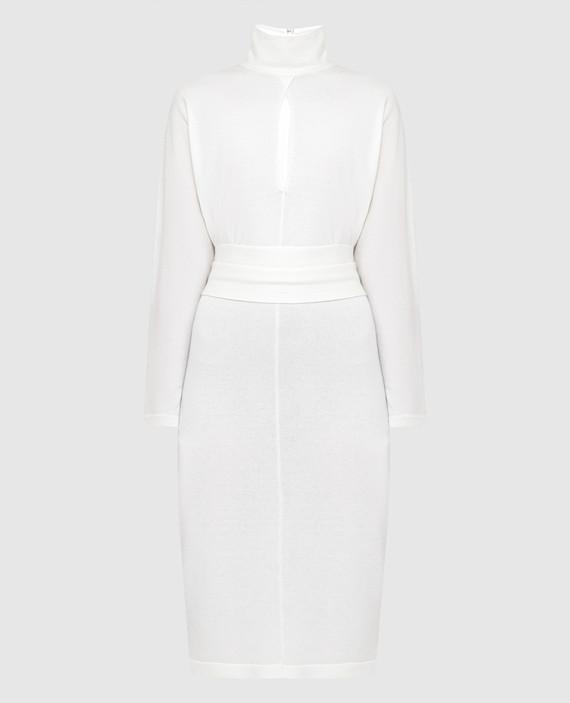 Светло-бежевое платье из кашемира