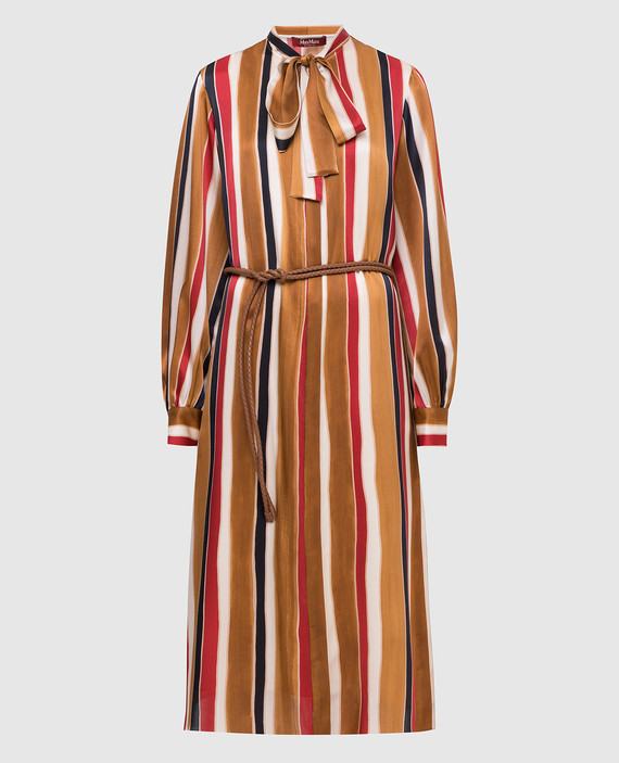 Коричневое платье из шелка