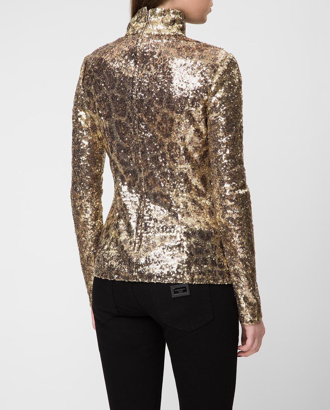 Dolce&Gabbana Золотистая блуза F72S3THSMTE изображение 4