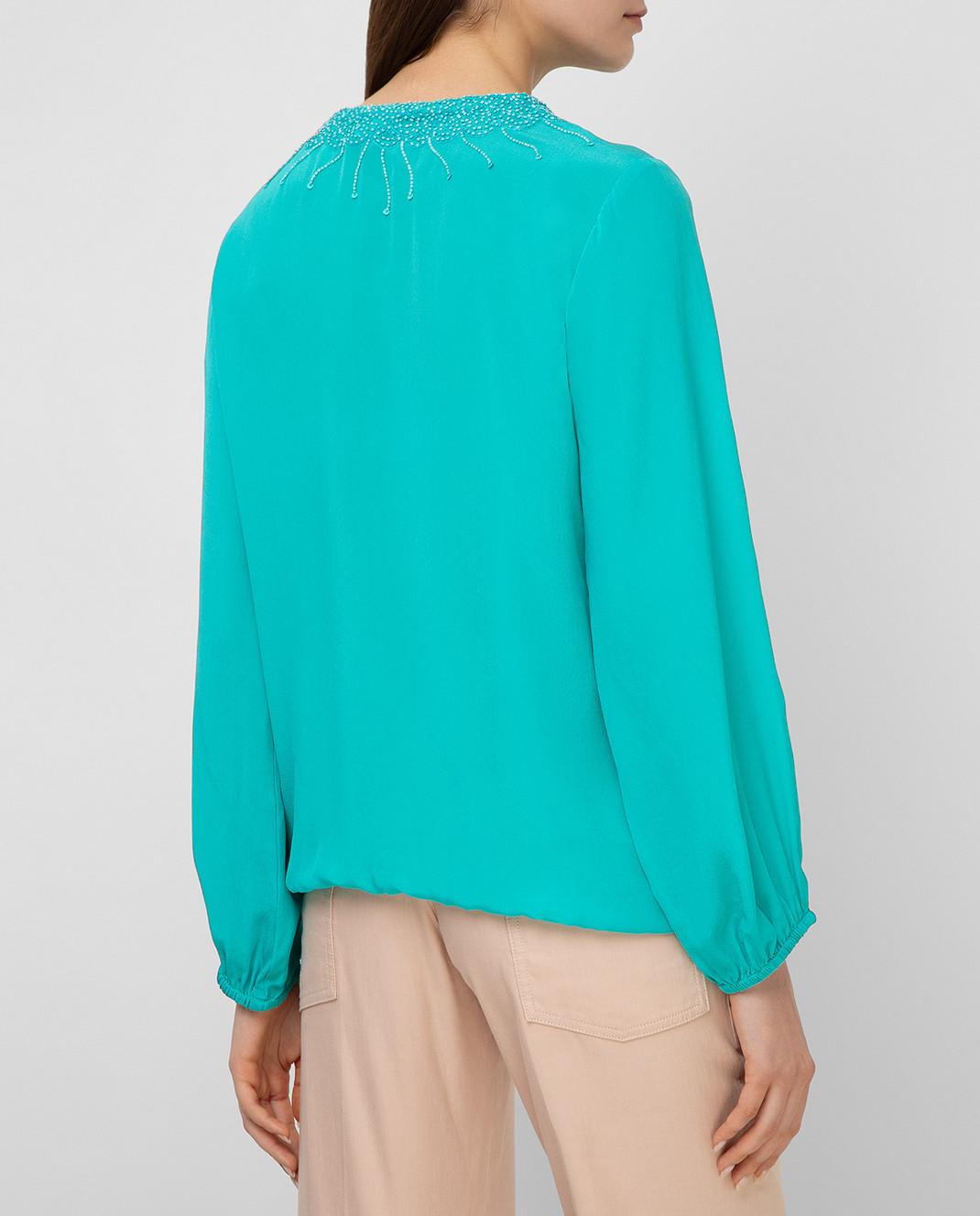 Taj by Sabrina Бирюзовая блуза из шелка SUSH1087 изображение 4