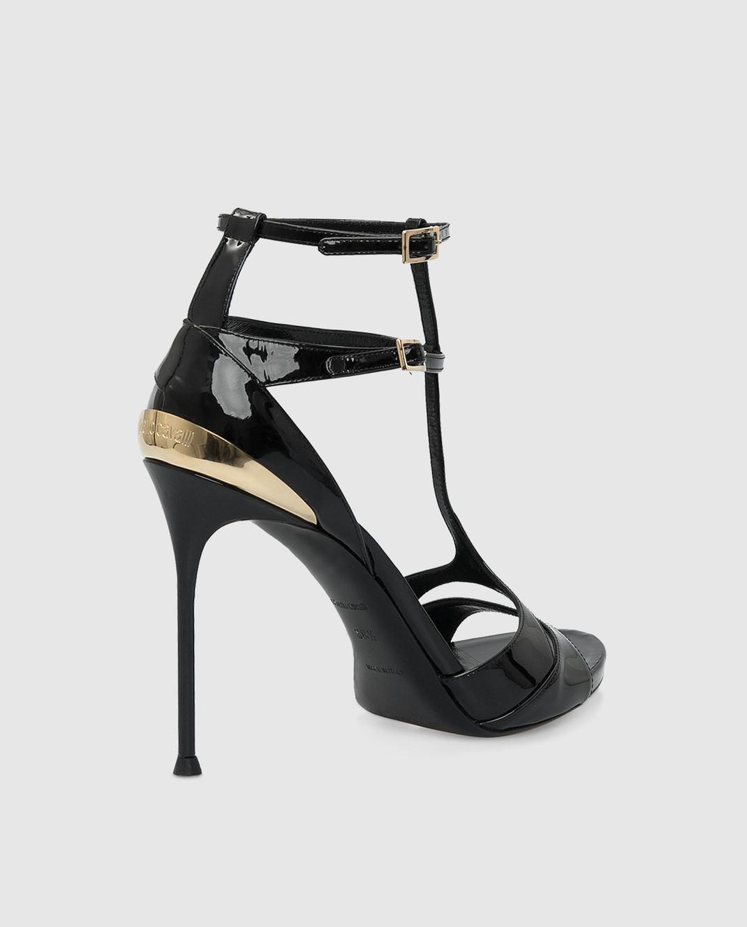 Roberto Cavalli Черные кожаные босоножки CQS163PL001 изображение 4