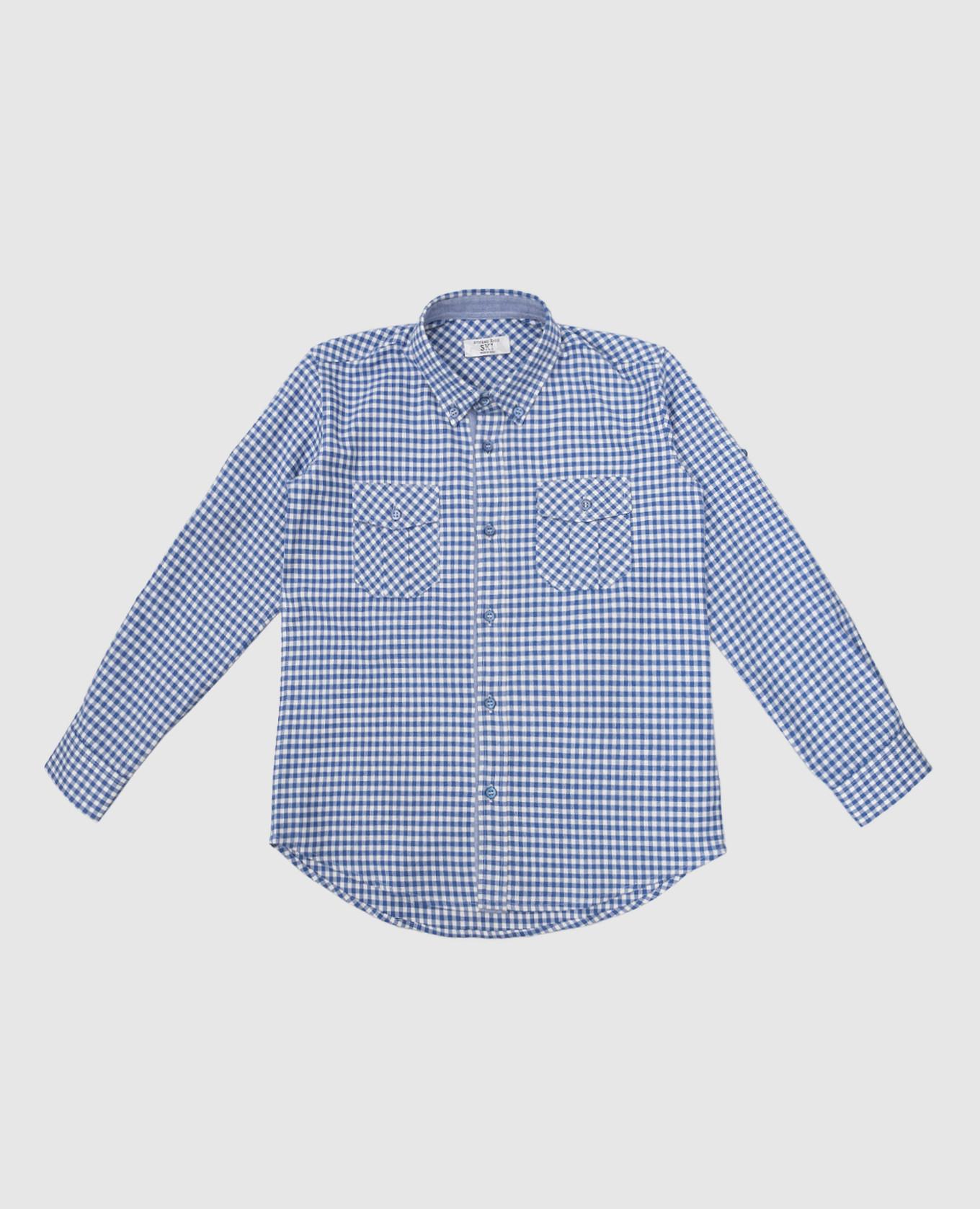 Детская синяя рубашка в клетку Stefano Ricci