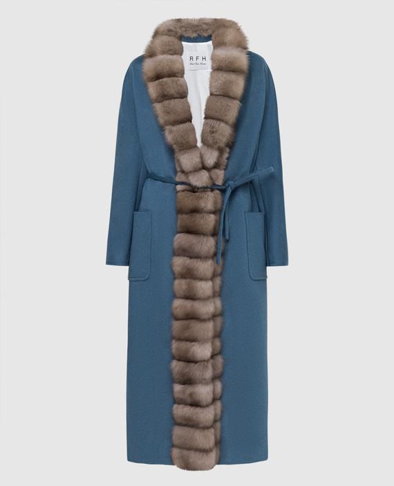 Синее пальто из кашемира с мехом соболя