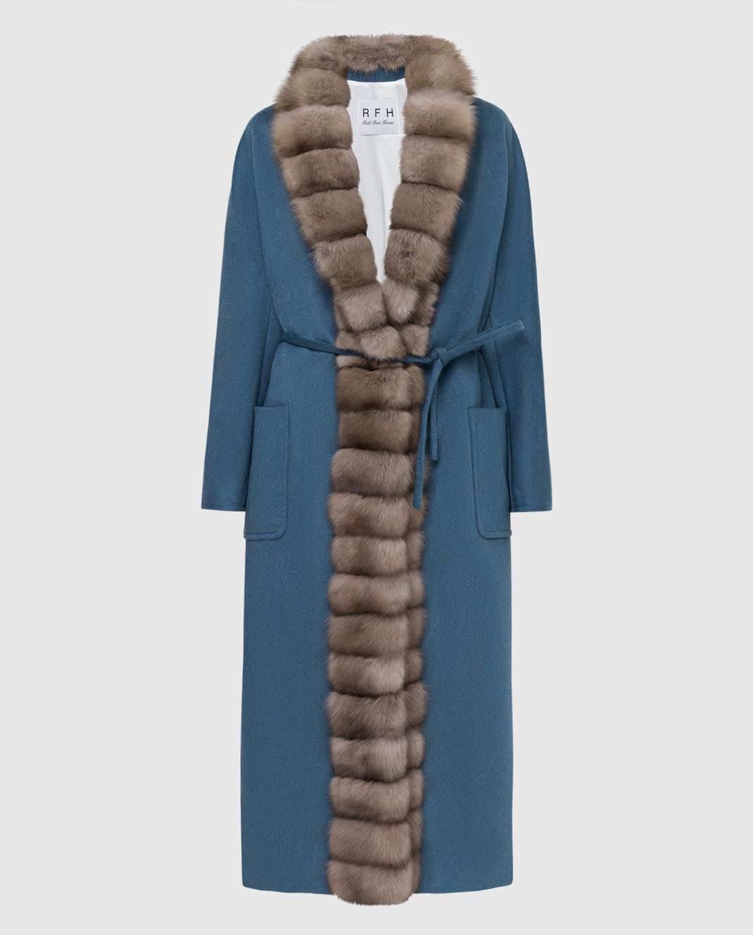 Real Furs House Синее пальто из кашемира с мехом соболя GT01lLIGHTBLUE