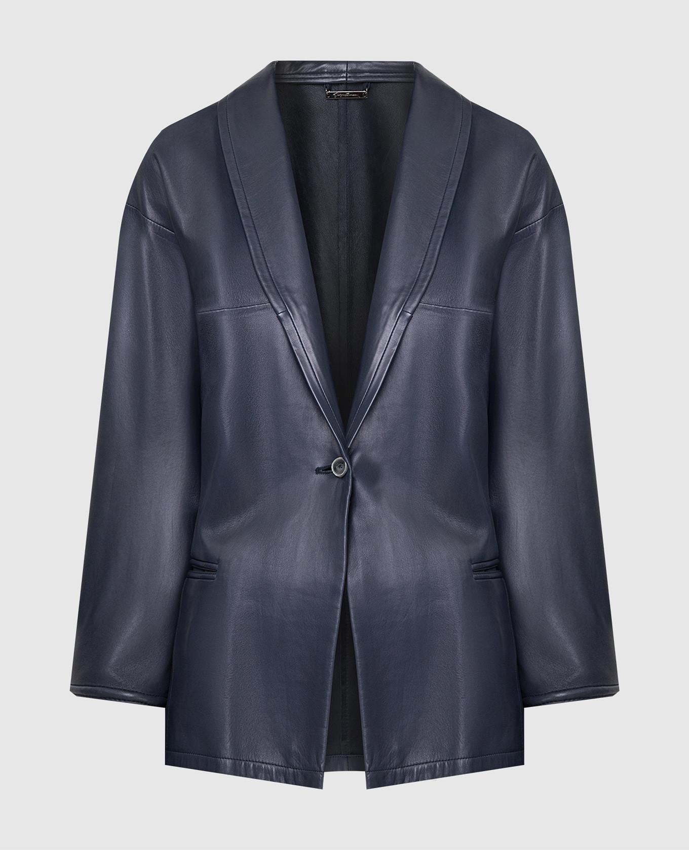 Темно-синий кожаный жакет