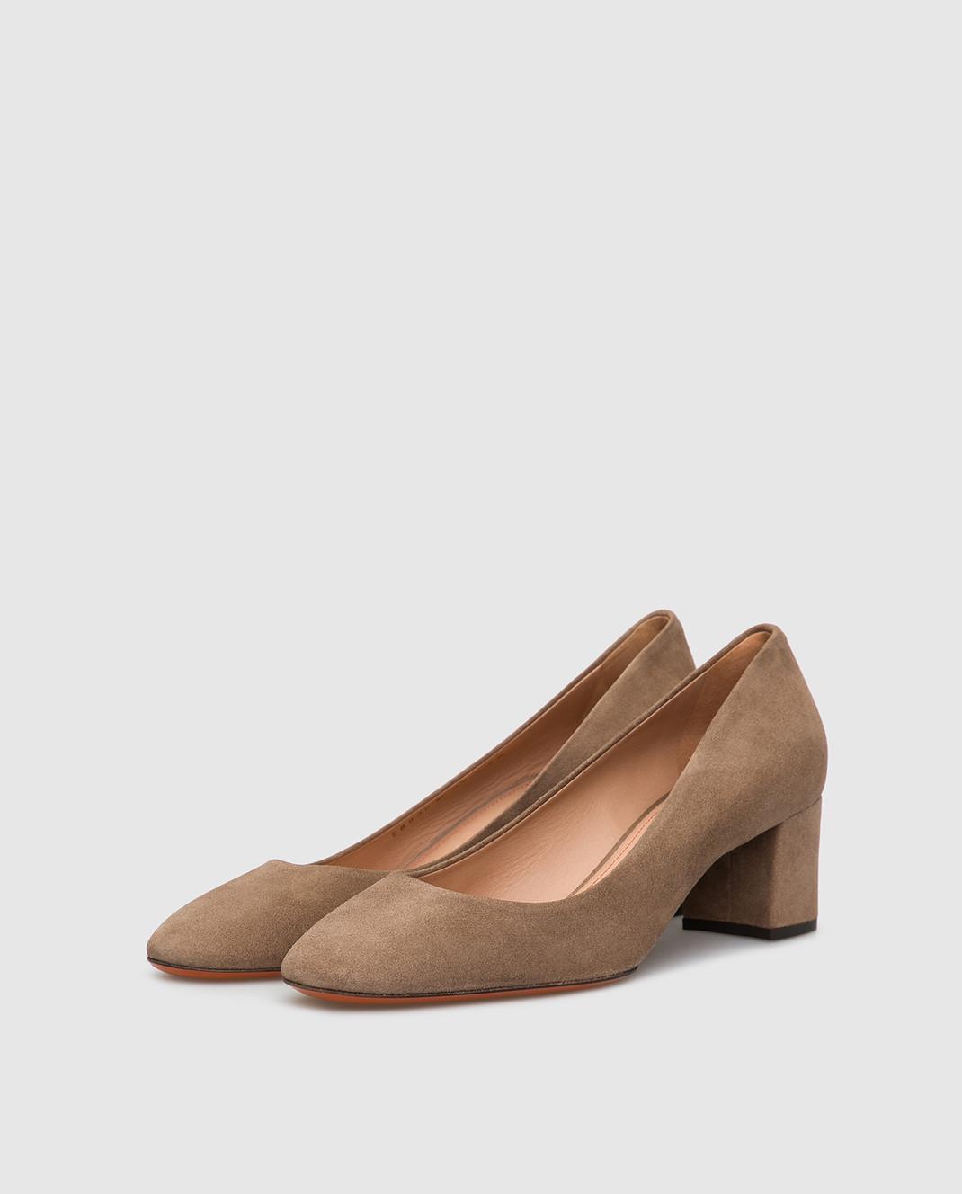 Santoni Бежевые замшевые туфли изображение 3