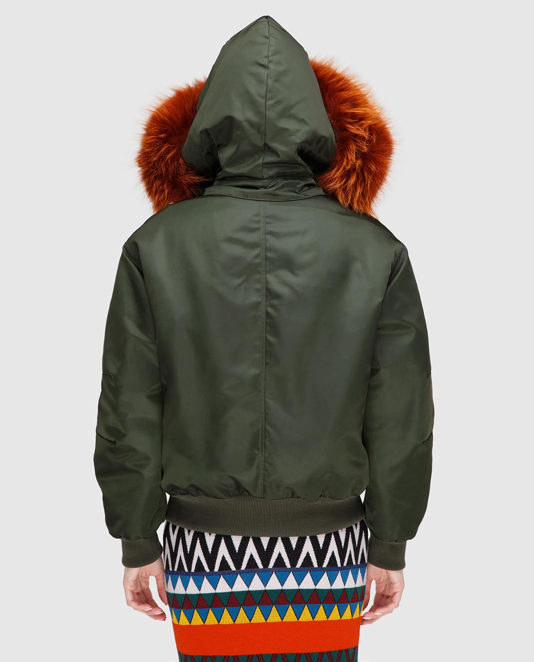 Mr&Mrs Italy Зеленая куртка с мехом WBB015 изображение 4
