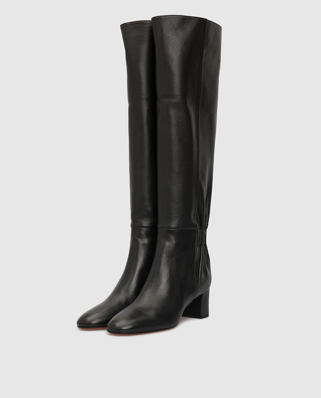 Santoni Черные кожаные сапоги изображение 3