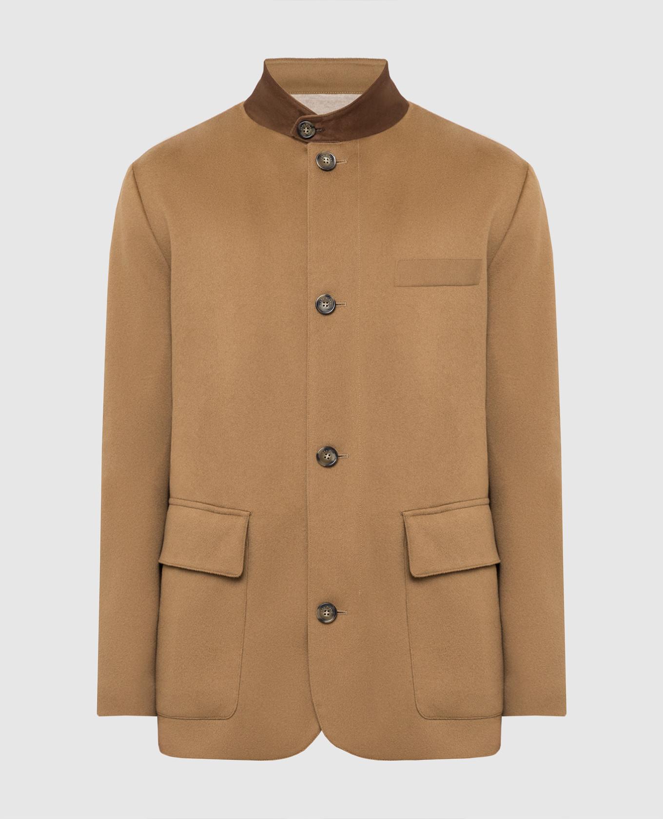 Темно-бежевое пальто из кашемира