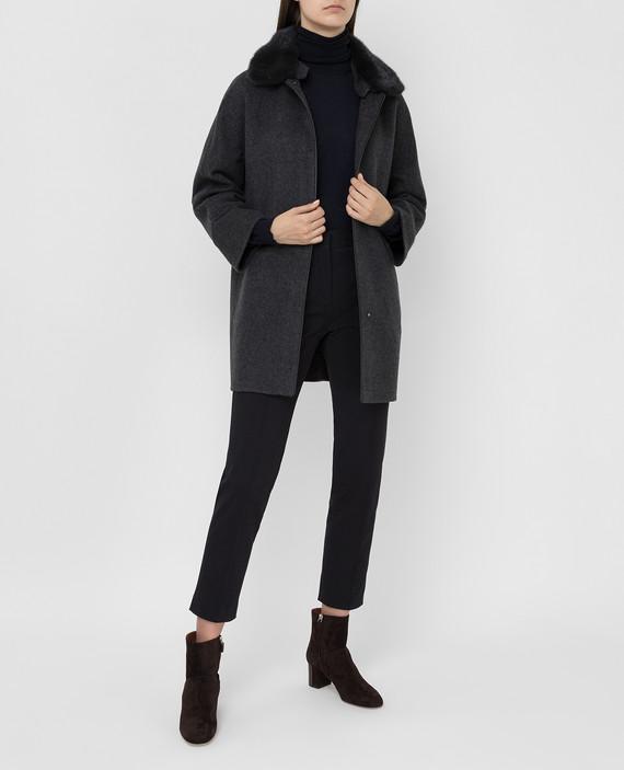 Темно-серое пальто из кашемира с мехом норки hover