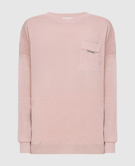 Розовый джемпер из льна