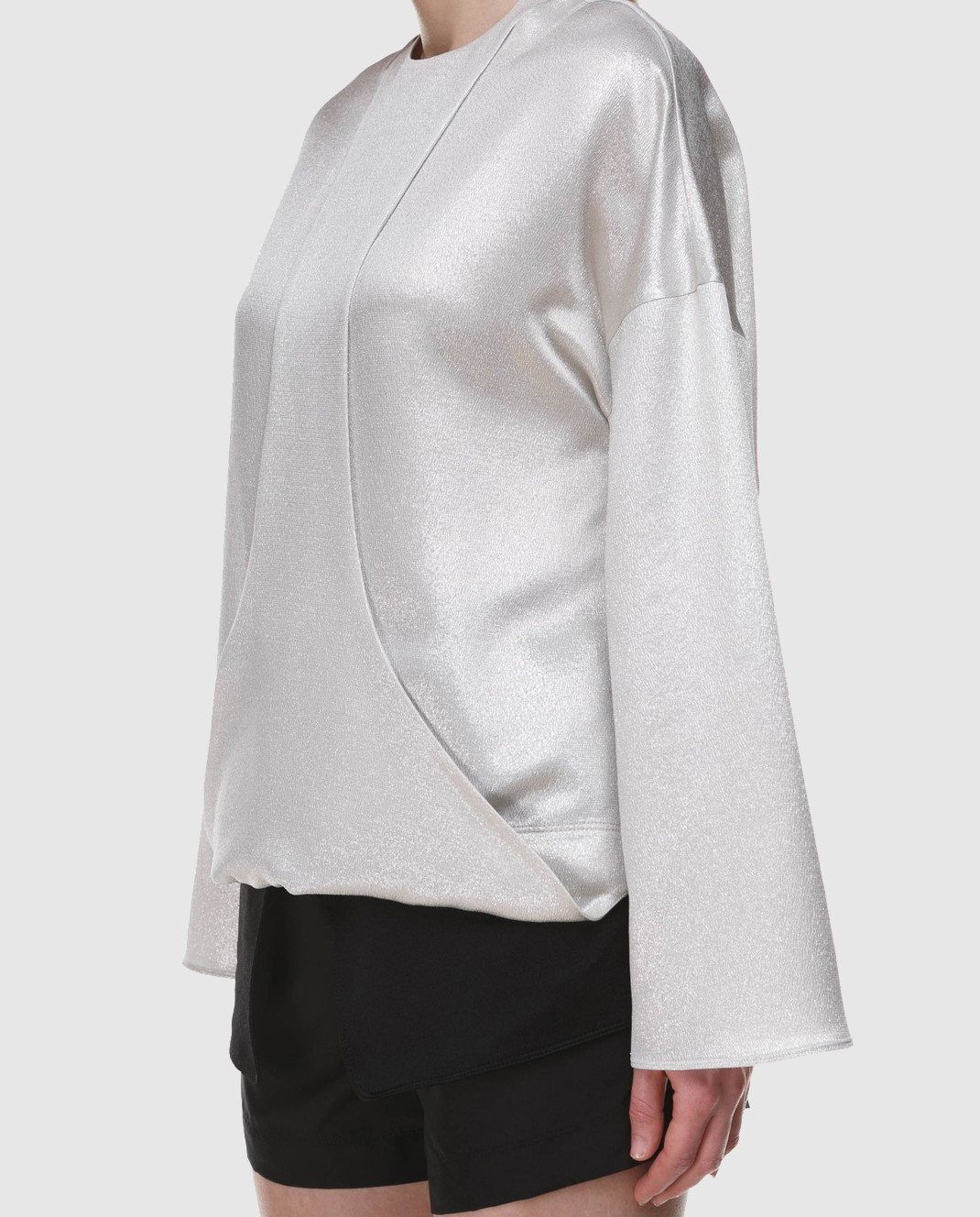 Valentino Серебристая блуза с длинным рукавом PB0AE2R53VF изображение 3
