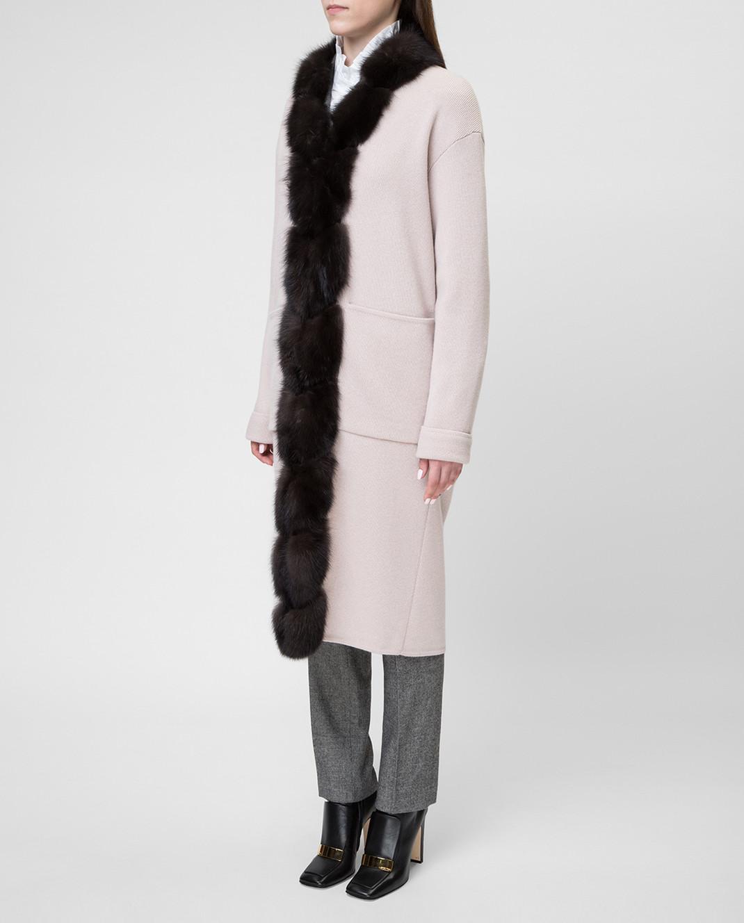 Real Furs House Бежевое пальто CSR01 изображение 3