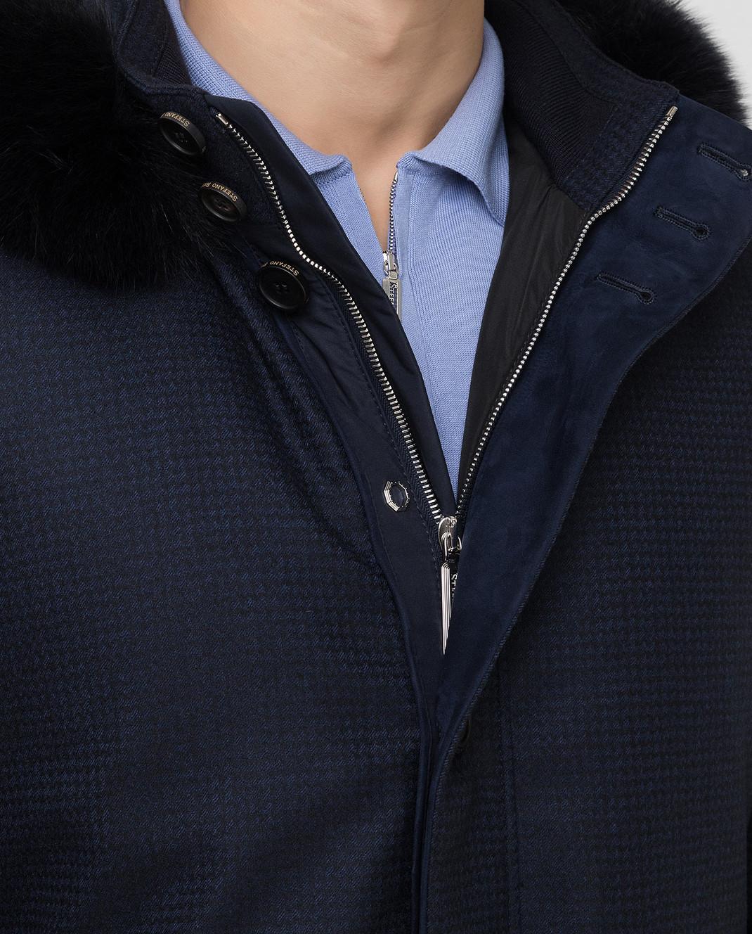 Stefano Ricci Темно-синяя парка из шерсти и кашемира с мехом лисы изображение 5