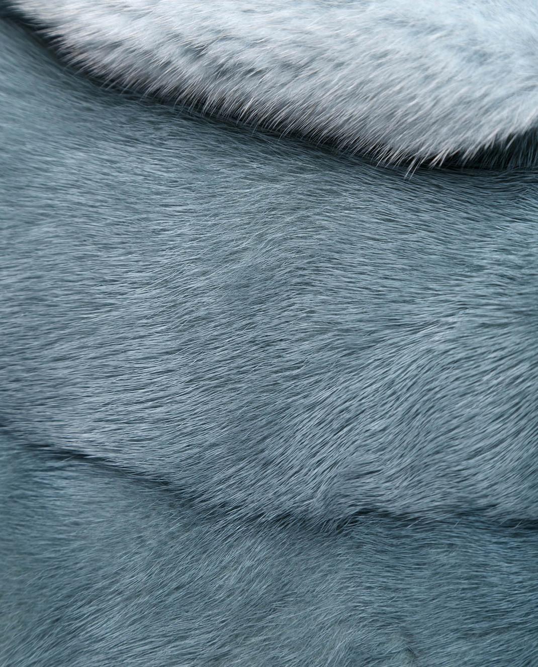 Florence Mode Бирюзовая шуба из меха норки с поясом L1827PERLA изображение 5