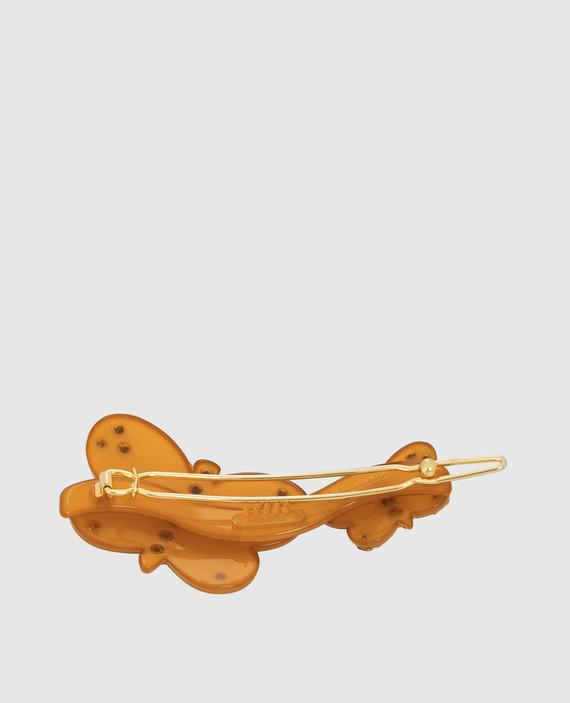 Оранжевая заколка с кристаллами hover