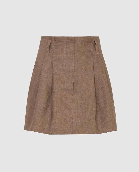 Темно-бежевая юбка из льна