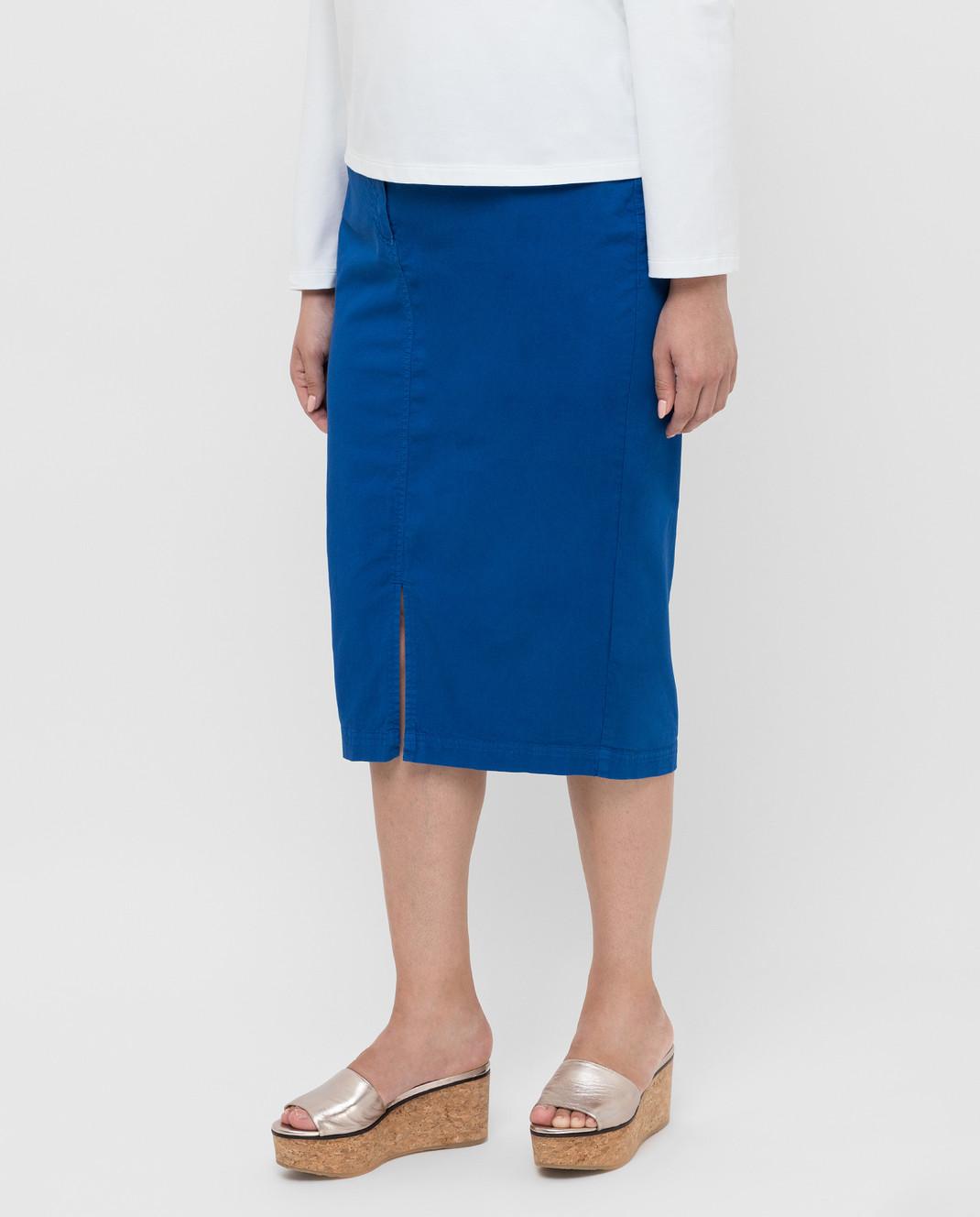 Marina Sport by Marina Rinaldi Темно-синяя джинсовая юбка CAROTENE изображение 3